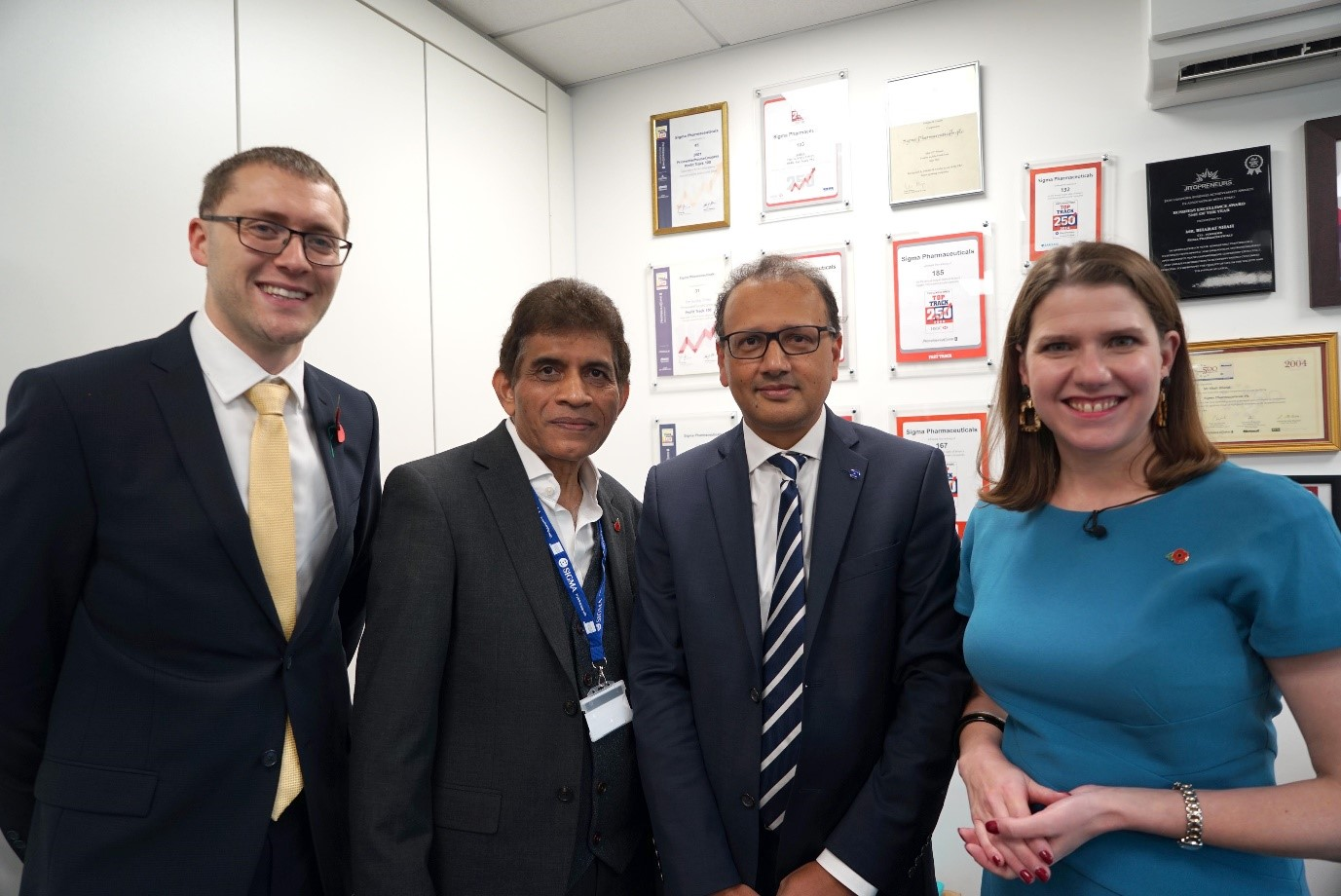 Liberal Democrat leader Jo Swinson MP visits Sigma Pharmaceuticals Plc